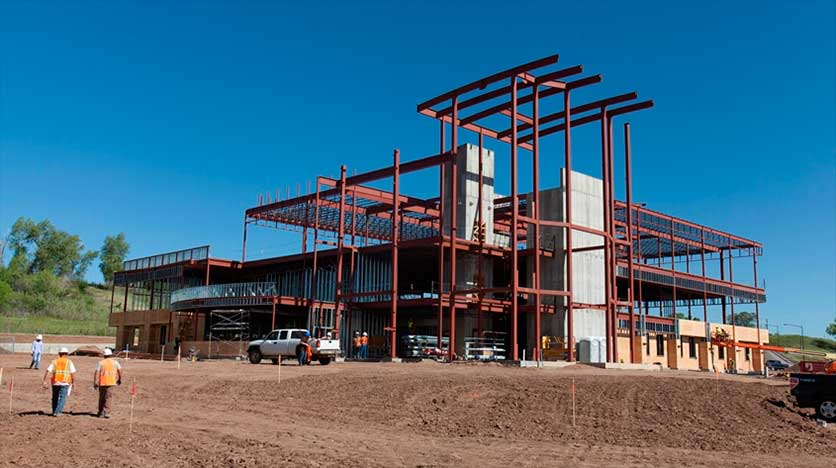 Picture of building frame being constructed