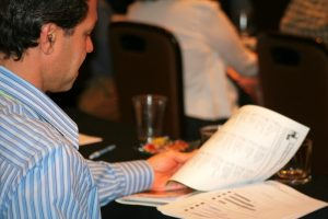 Picture of participant reviewing Professional Development class materials